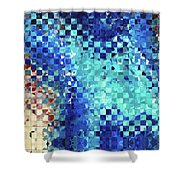 Blue Abstract Art - Pieces 2 - Sharon Cummings Shower Curtain