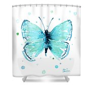 Blue Abstract Butterfly Shower Curtain
