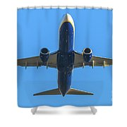 Blue Airplane Takeing Off Shower Curtain