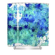 Blue And Aqua Abstract - Wishing Well - Sharon Cummings Shower Curtain