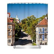 Blue And Brown Ornamental Walls Shower Curtain