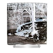 Blue And Brown Trees Shower Curtain