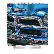 Blue And Chrome Chevy Pickup Front End Shower Curtain