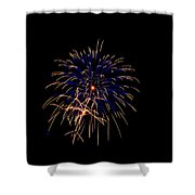Blue And Gold Fireworks Shower Curtain