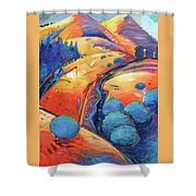 Blue And Gold Shower Curtain