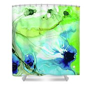Blue And Green Abstract - Land And Sea - Sharon Cummings Shower Curtain