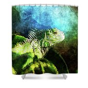 Blue And Green Iguana Profile Shower Curtain
