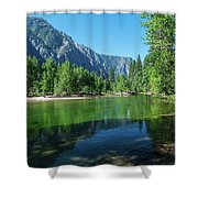 Blue And Green River Shower Curtain