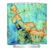 Blue And Orange Abstract - Time Dance - Sharon Cummings Shower Curtain