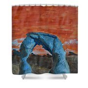 Blue And Orange Shower Curtain