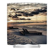 Blue And Orange Sunrise On The Beach Shower Curtain