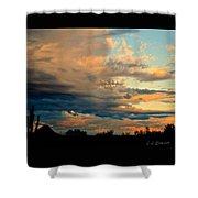 Blue And Orange Sunset Shower Curtain