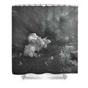 Blue And Pink Clouds In Black And White  Shower Curtain