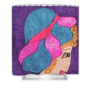 Blue And Pink Hat Shower Curtain