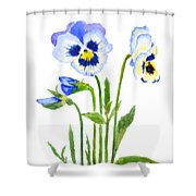 Blue And Purple Pansies  Shower Curtain