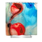 Blue And Red Art - Crimson Dance - Sharon Cummings Shower Curtain