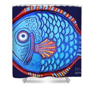 Blue And Red Fish Shower Curtain