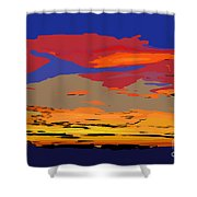 Blue And Red Ocean Sunset Shower Curtain