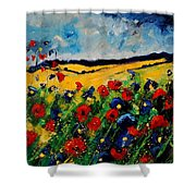 Blue And Red Poppies 45 Shower Curtain