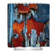 Blue And Rust Shower Curtain