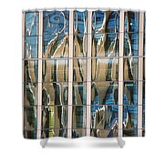 Blue And Tan Abstract Shower Curtain