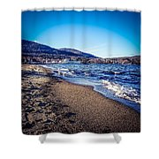 Blue And Tan Shower Curtain