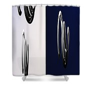 Blue And White Abstract Shower Curtain