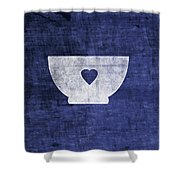 Blue And White Bowl- Art By Linda Woods Shower Curtain