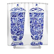 Blue And White Chinoiserie Vases Shower Curtain