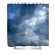 Blue And White Cloud Formations Shower Curtain