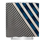Blue And White Diagonals Shower Curtain
