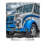 Blue And White Divco Shower Curtain