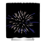 Blue And White Fireworks Shower Curtain