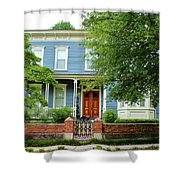Blue And White House Shower Curtain