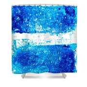 Blue And White Modern Art - Two Pools 2 - Sharon Cummings Shower Curtain