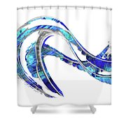 Blue And White Painting - Wave 2 - Sharon Cummings Shower Curtain