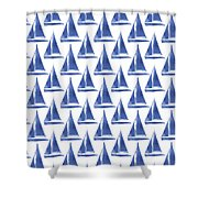 Blue And White Sailboats Pattern- Art By Linda Woods Shower Curtain