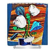 Blue And White Tulips Shower Curtain
