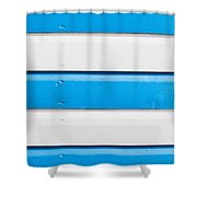 Blue And White Wood Shower Curtain