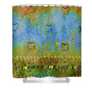 Blue And Yellow Abstract Shower Curtain