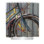 Blue And Yellow Bikes Shower Curtain
