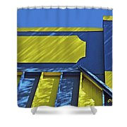 Blue And Yellow Shadows Shower Curtain
