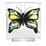 Blue And Yellow Watercolor Butterfly Shower Curtain