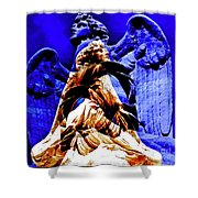 Blue Angel Wings Shower Curtain