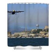 Blue Angels C130 Fat Albert Passes Alcatraz Shower Curtain