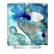 Blue Art - The Meaning Of Life - Sharon Cummings Shower Curtain
