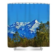 Blue Autumn Sky Shower Curtain