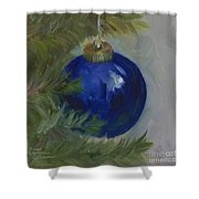Blue Ball On Christmas Tree Shower Curtain