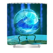 Blue Ball Shower Curtain