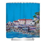 Blue Bay Shower Curtain by Sinisa Saratlic